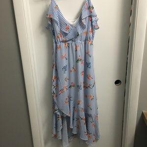 Asymmetrical hemline midi dress